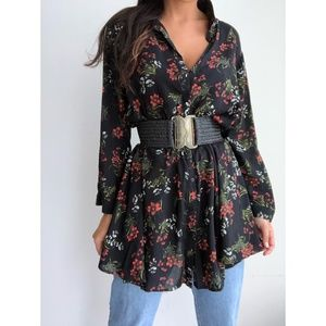 Zara Black Floral Button Up Collared Tunic Dress L